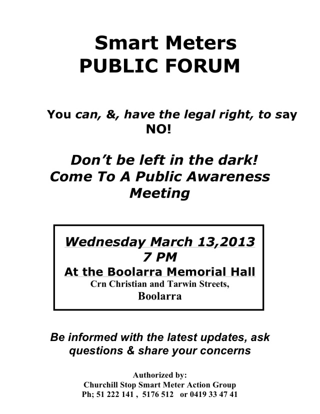 Boolara Smart Meter Meeting March 13th, 2013