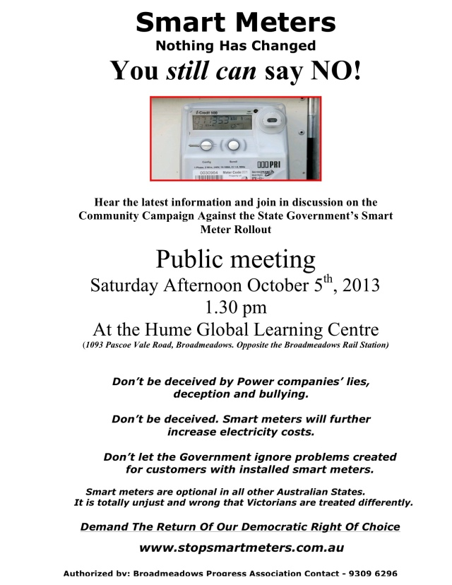 Broadmeadows Public Meeting Oct 5th, 2013